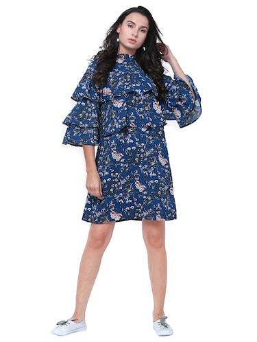 df9ab6b42 Buy Blue Printed Layered Dress by Tokyo Talkies - Online shopping ...