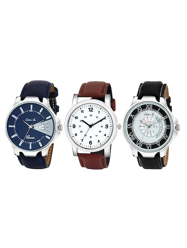 Gen-Z combo of 3 Brown Black and Blue watches - 14871527 - Standard Image - 1