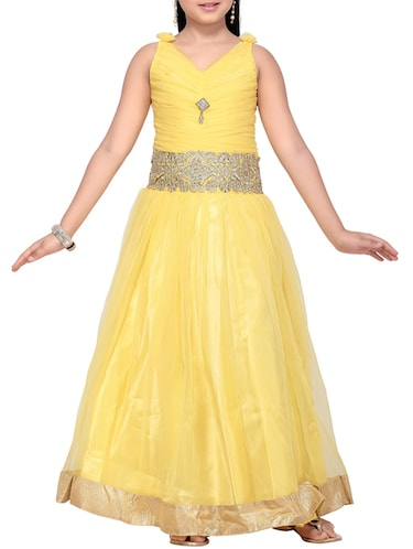 yellow net party gown - 14873211 - Standard Image - 1