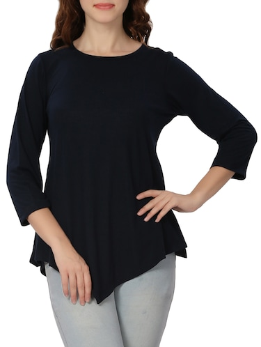 Navy blue solid asymmetric top - 14874864 - Standard Image - 1