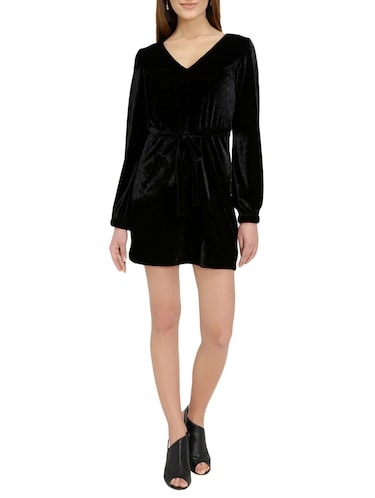 black solid belted dress - 14876543 - Standard Image - 1