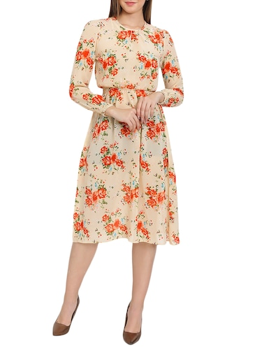 beige printed blouson dress - 14876545 - Standard Image - 1