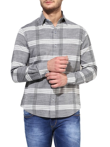 grey cotton casual shirt - 14878824 - Standard Image - 1