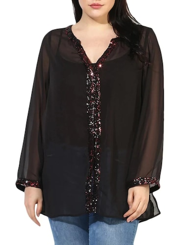 sheer sequined plus tunic - 14882885 - Standard Image - 1