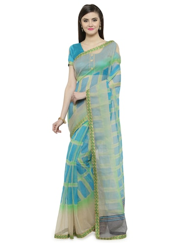Blue  printed saree with blouse - 14884255 - Standard Image - 1