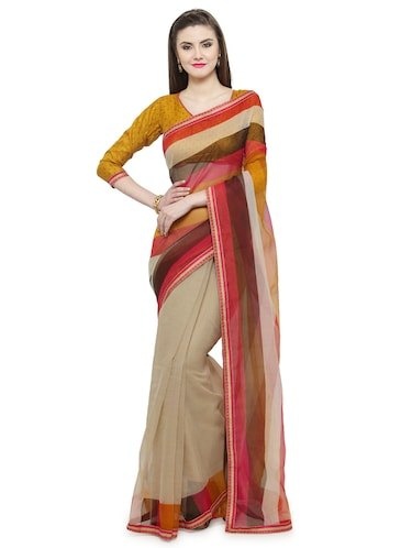 Beige printed saree with blouse - 14884265 - Standard Image - 1