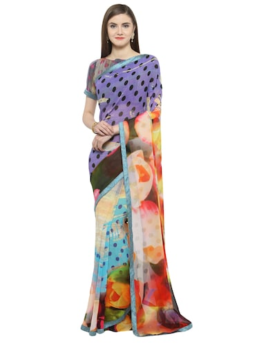 blue georgette printed saree with blouse - 14884289 - Standard Image - 1