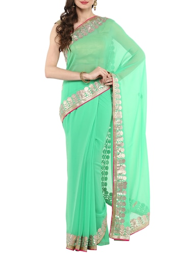 gota patti chiffon saree with blouse - 14884757 - Standard Image - 1