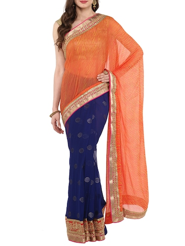 leheriya gota border half & half saree with blouse - 14884769 - Standard Image - 1