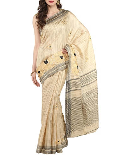 beige embroidered saree with blouse - 14884773 - Standard Image - 1
