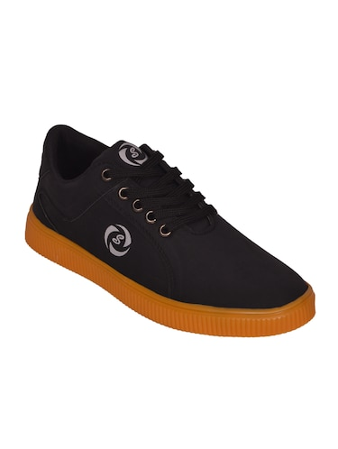 black leatherette lace up sneaker - 14885090 - Standard Image - 1