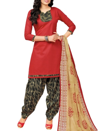 red cotton churidaar suits unstitched suit - 14885349 - Standard Image - 1