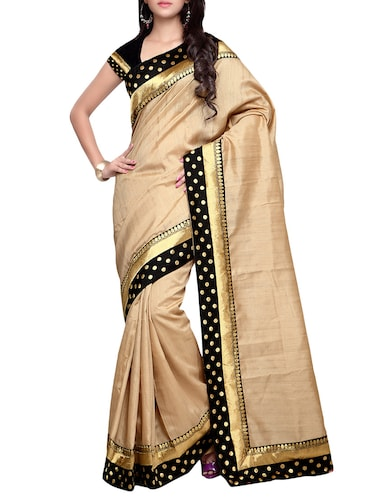 beige matka silk bordered saree with blouse - 14886424 - Standard Image - 1