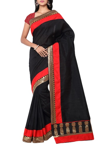 black matka silk bordered saree with blouse - 14886433 - Standard Image - 1