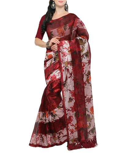 maroon tussar silk saree with blouse - 14886933 - Standard Image - 1
