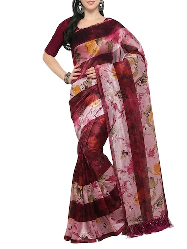 maroon tussar silk saree with blouse - 14886936 - Standard Image - 1
