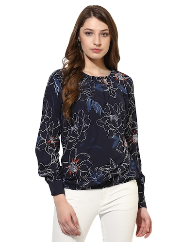e4f5c5151cf922 Buy Navy Blue Crepe Blouson Top for Women from Color Cocktail for ...