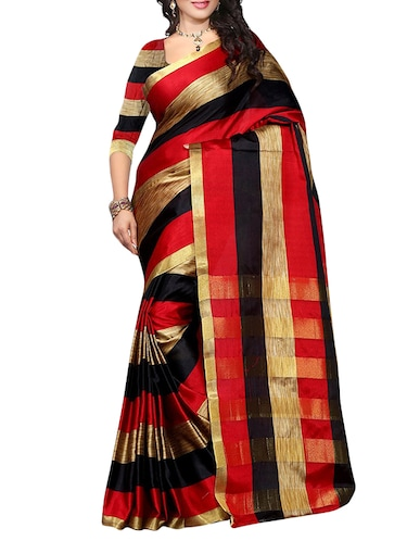 red woven saree with blouse - 14887239 - Standard Image - 1