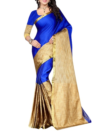 blue cotton woven saree with blouse - 14887241 - Standard Image - 1