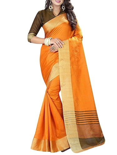 yellow cotton bordered saree with blouse - 14887267 - Standard Image - 1