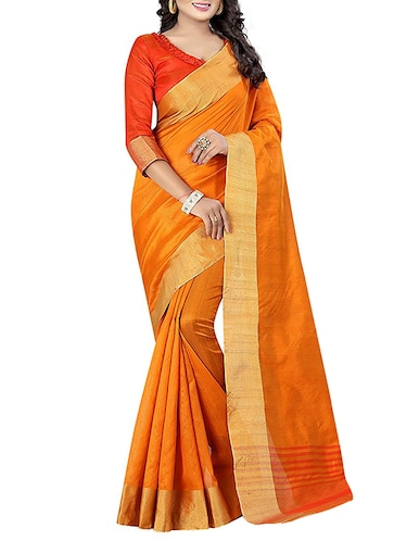 yellow cotton bordered saree with blouse - 14887268 - Standard Image - 1