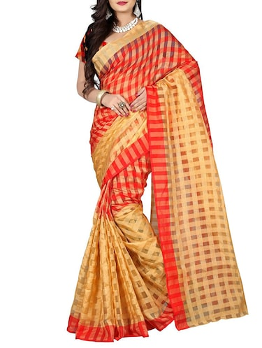 red cotton silk woven saree with blouse - 14887276 - Standard Image - 1