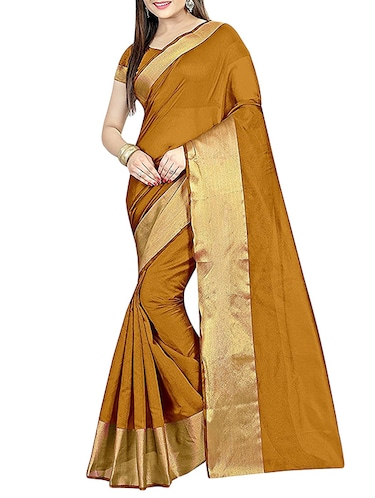 mustard cotton silk bordered saree with blouse - 14887306 - Standard Image - 1