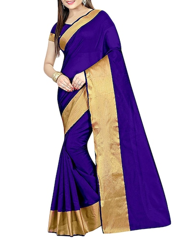 blue cotton silk bordered saree with blouse - 14887308 - Standard Image - 1