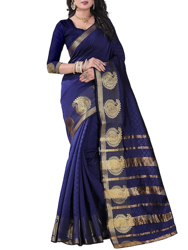 blue silk blend woven saree with blouse - 14887394 - Standard Image - 1