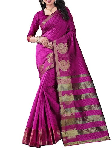 pink silk blend woven saree with blouse - 14887395 - Standard Image - 1