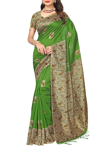 green silk blend printed saree with blouse - 14887928 - Standard Image - 1