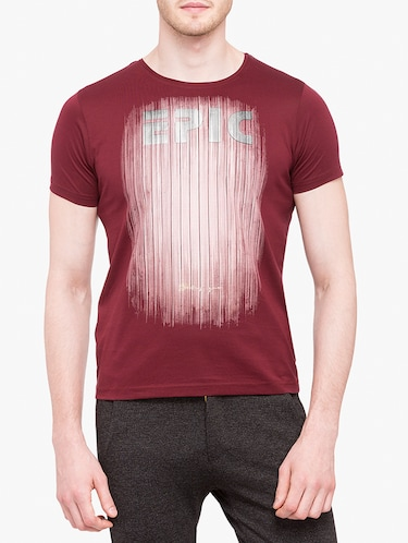 maroon cotton front print tshirt - 14888254 - Standard Image - 1