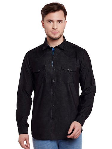 black cotton casual shirt - 14888550 - Standard Image - 1