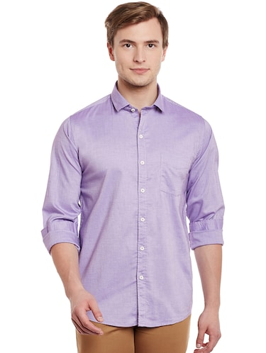 purple cotton casual shirt - 14888579 - Standard Image - 1