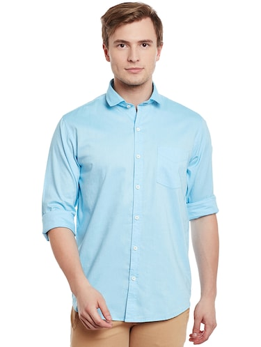 light blue cotton casual shirt - 14888582 - Standard Image - 1