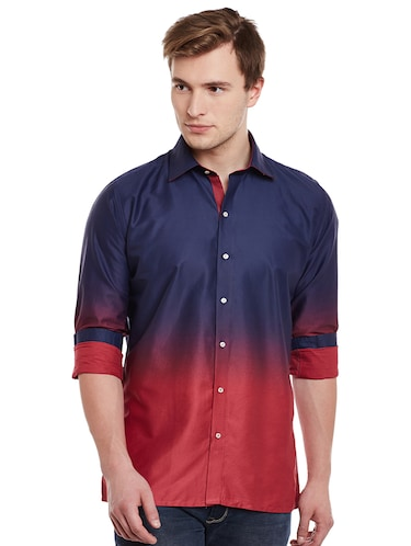 blue cotton casual shirt - 14888593 - Standard Image - 1