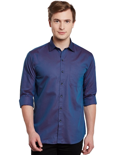 blue cotton casual shirt - 14888619 - Standard Image - 1