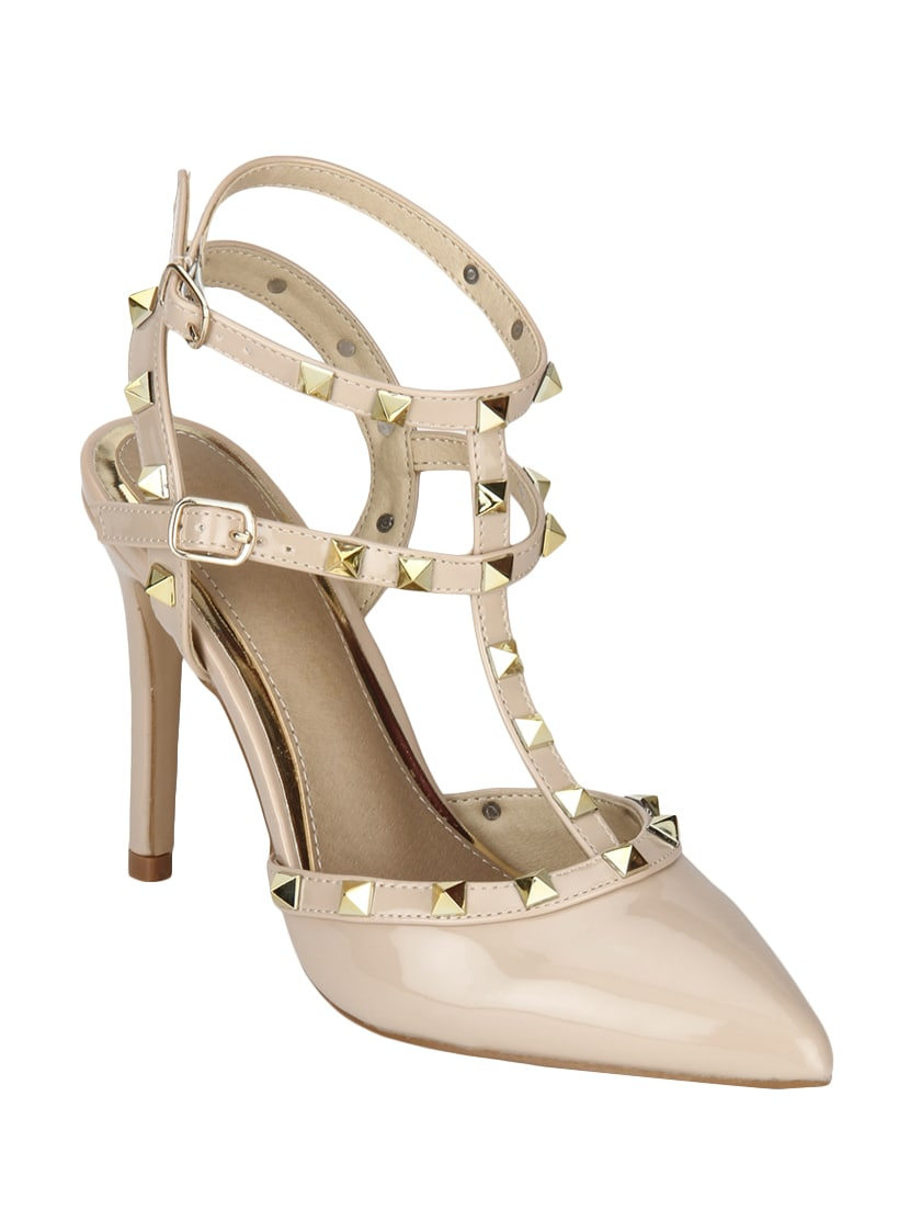 0e819a922b41 Buy Nude Patent Leather Ankle Strap Sandals by Truffle Collection - Online  shopping for Sandals in India