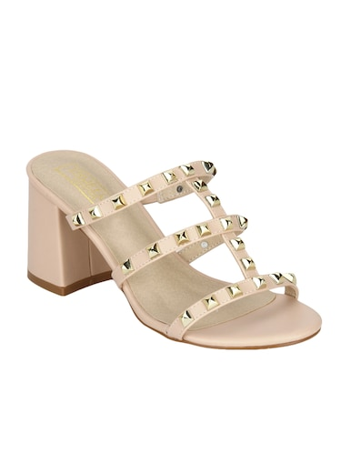 nude patent leather slip on sandals - 14889013 - Standard Image - 1