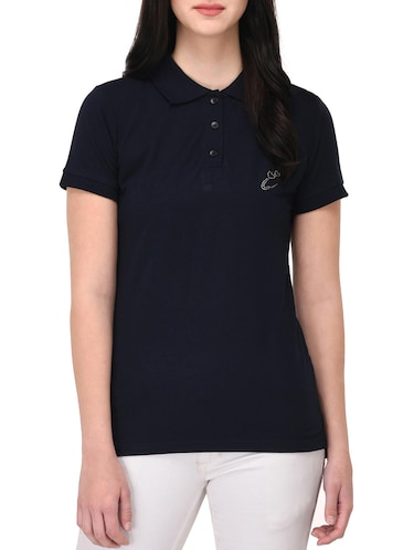 navy blue polo neck tee - 14889056 - Standard Image - 1