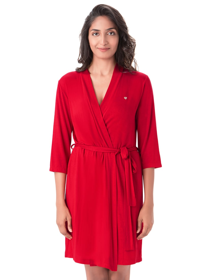 Buy Red Solid Sleepwear Robe by Prettysecrets - Online shopping for ... d7b90eba3