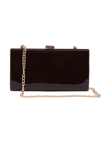 brown leatherette box clutch - 14889964 - Standard Image - 1