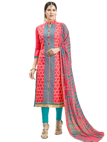 red chanderi cotton churidaar suits unstitched suit - 14890045 - Standard Image - 1
