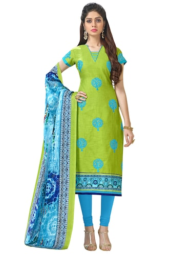green cotton churidaar suits unstitched suit - 14890058 - Standard Image - 1