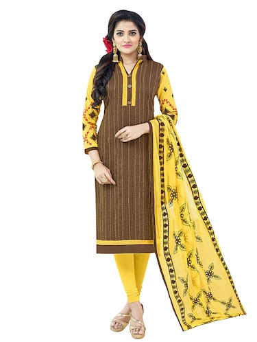 brown cotton churidaar suits unstitched suit - 14890062 - Standard Image - 1