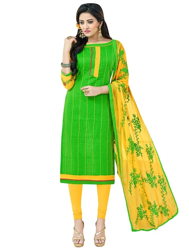 green cotton churidaar suits unstitched suit - 14890068 - Standard Image - 1