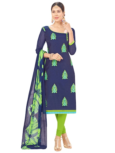 blue chanderi cotton churidaar suits unstitched suit - 14890086 - Standard Image - 1