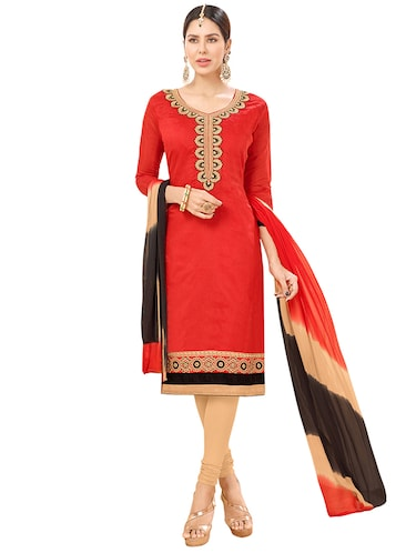 red chanderi cotton churidaar suits unstitched suit - 14890095 - Standard Image - 1