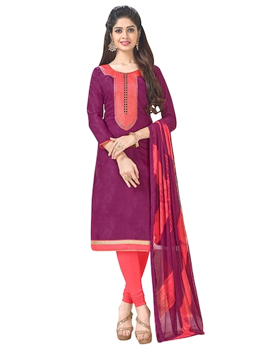 purple cotton churidaar suits unstitched suit - 14890109 - Standard Image - 1