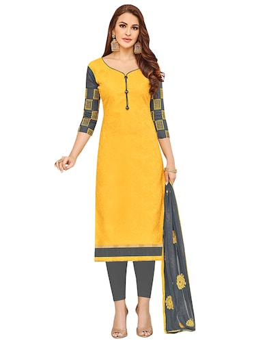 yellow cotton churidaar suits unstitched suit - 14890119 - Standard Image - 1